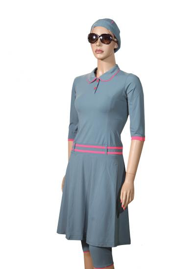 Front-grey polo modest swim dress