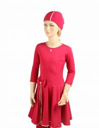 Front- Pink Cherry Ballet modest swimdress for girls