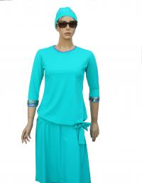 Blue topaze modest swimdress - front